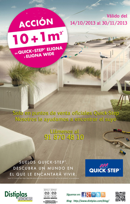 Promoci n suelos laminados quick step eligna y eligna wide for Quick step precios m2